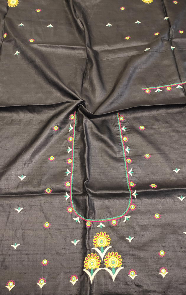 Black Tussar silk blouse material with kutch hand embroidery