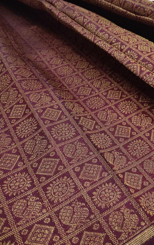 Maroon Kanchipuram Silk Blouse Material With Mayil Chakaram Bhuttas