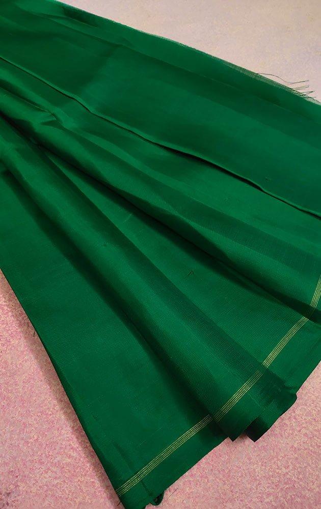 Green Kanchi Silk Blouse Material