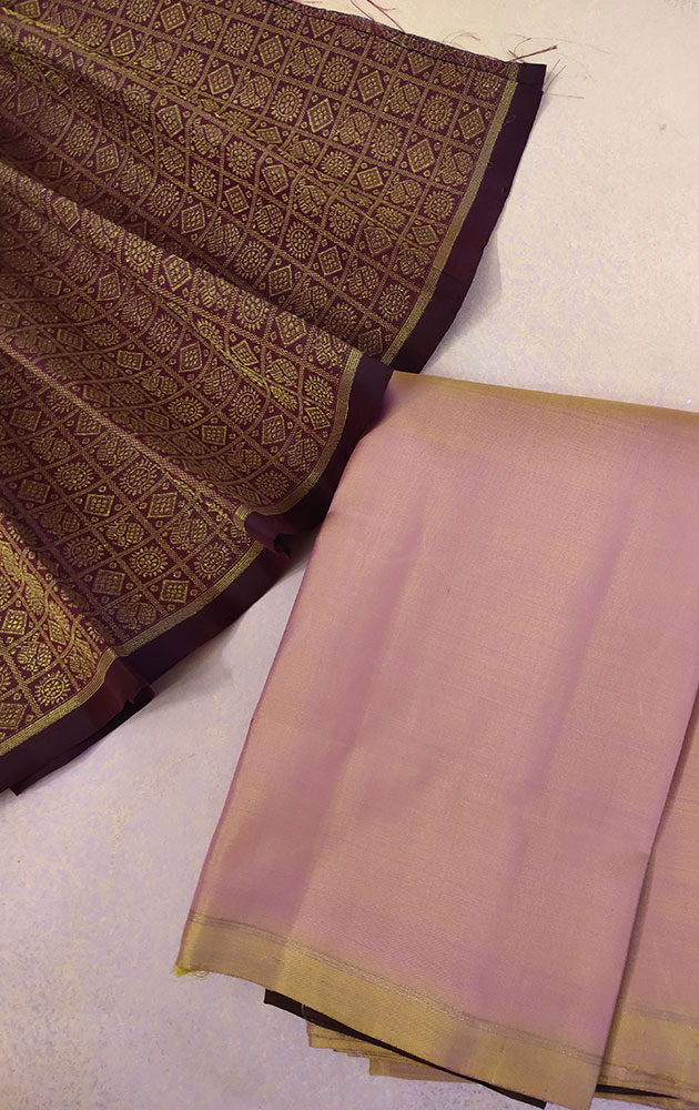 Maroon Kanchipuram Silk Blouse With Mayil Chakaram Bhuttas