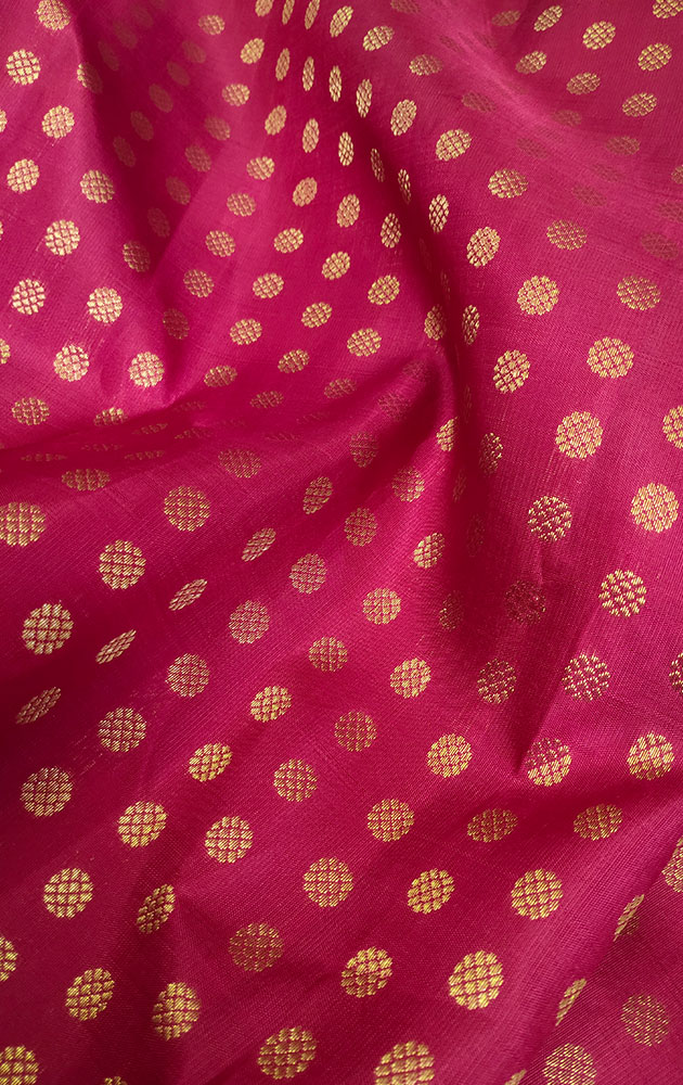 Maroon Kanchi Silk Blouse Material With Small Zari Motifs