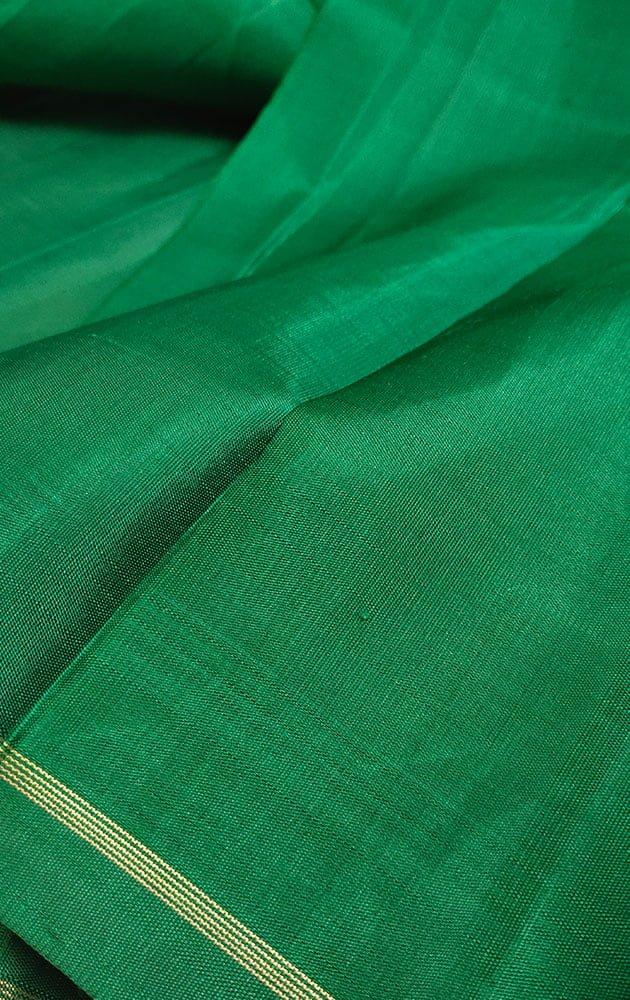 Green Kanchi Silk Plain Blouse Material