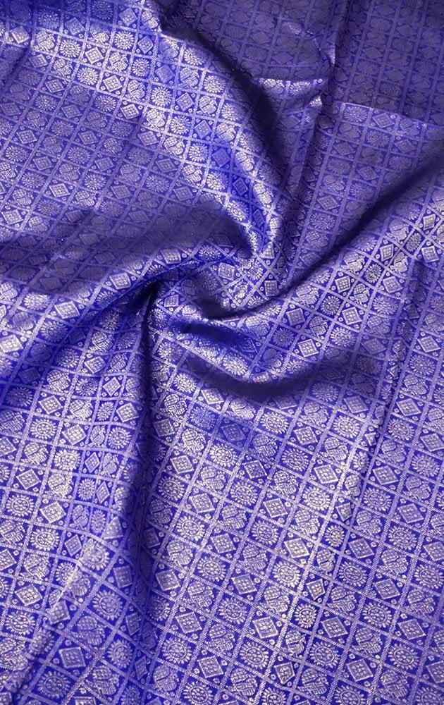 Blue Kanchipuram Silk Blouse Material With Mayil Chakaram Bhuttas