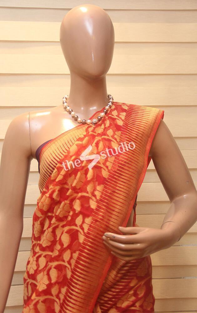 Red with mustard light cotton saree with jamdani weave