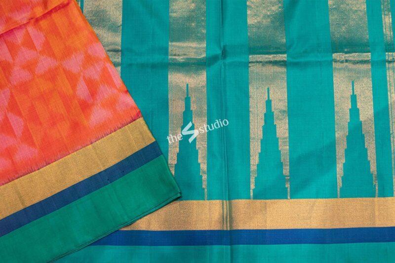Peachish orange ikat soft silk saree with sea green border