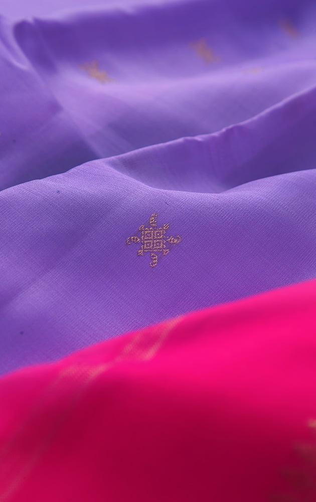 Lilac kora kanchipuram silk saree with rani pink