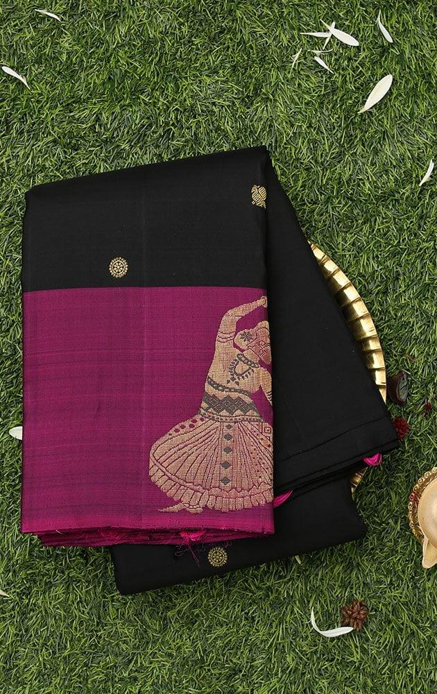Charcoal black kanchipuram saree