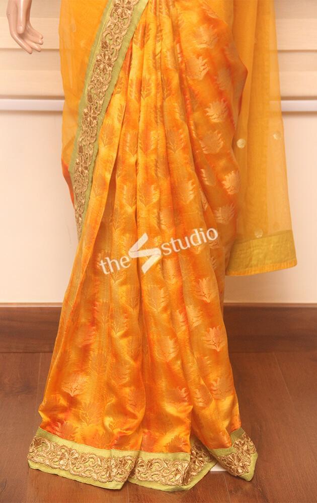 light orange banares half and half saree