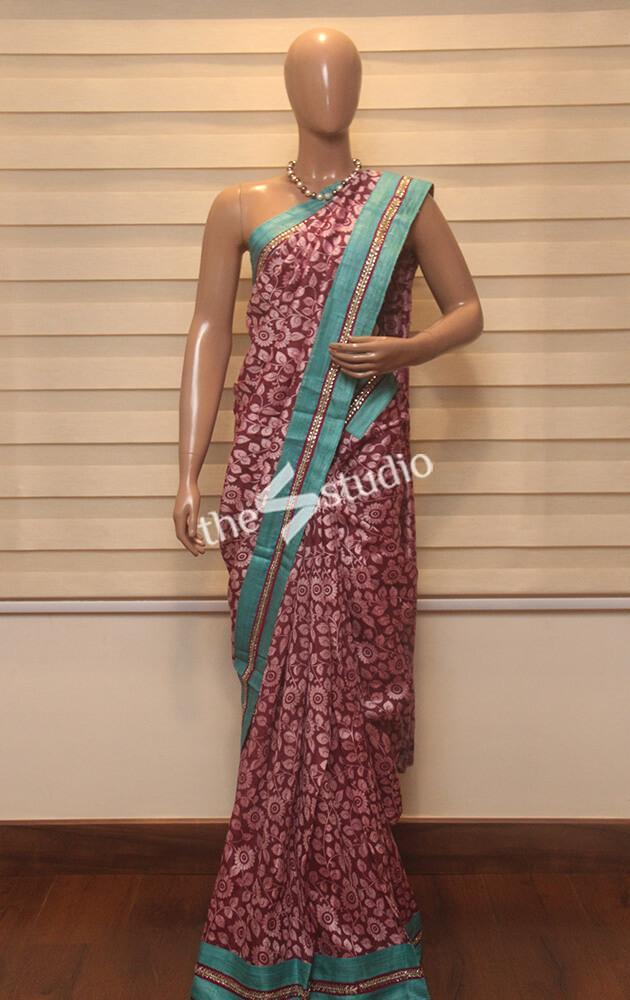 Lilac kalamkari printed designer saree