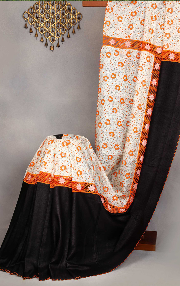 Black and white tussar saree with cutwork and block prints