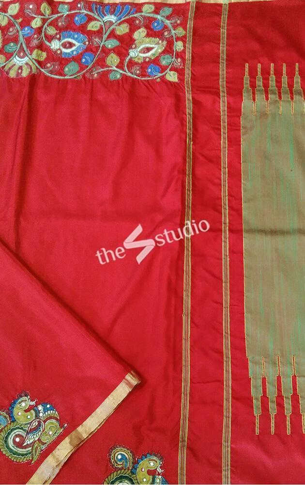Red kalamkari work soft silk saree