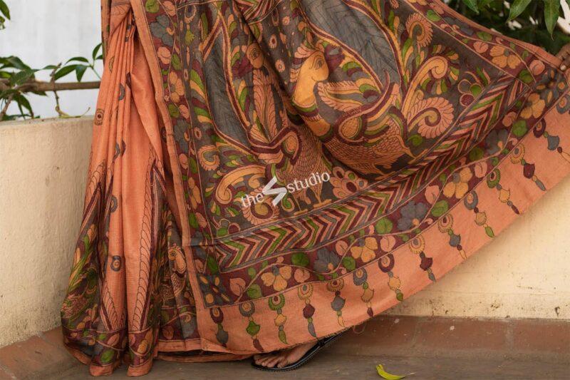 Light orange tussar saree with handpainted kalamkari