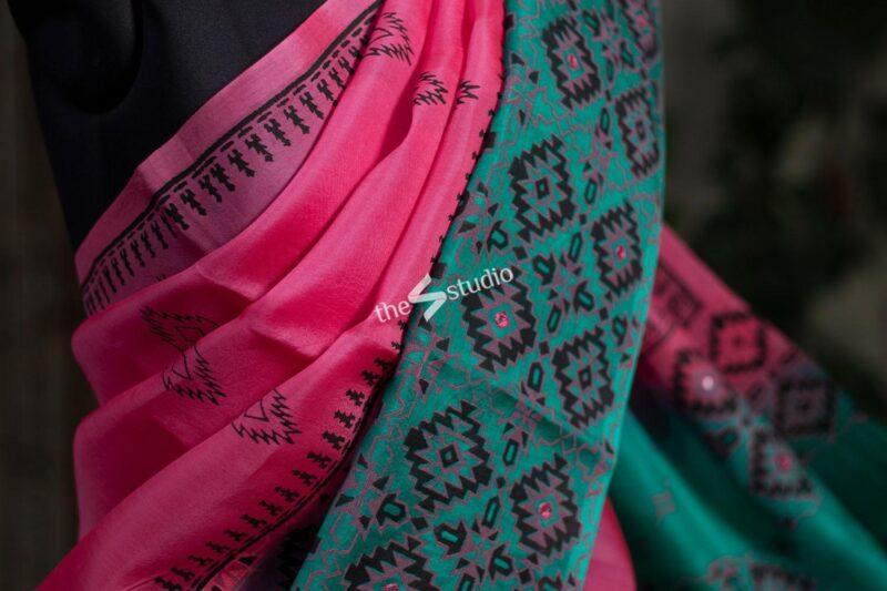 Bright Pink Organza Saree With Block Print