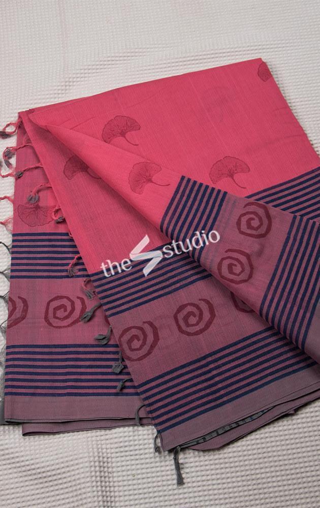 Pink and Blue Blockprinted Cotton Saree