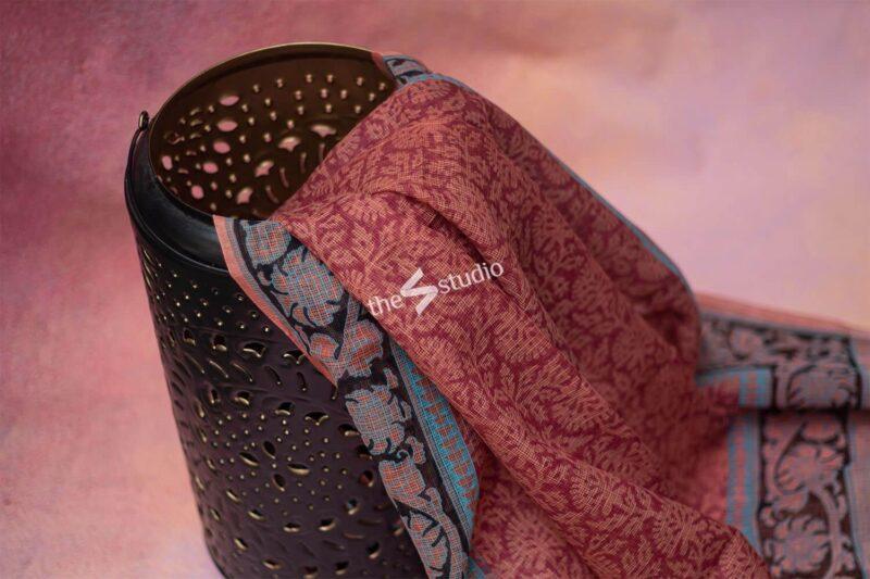 Maroonish brown kota cotton saree with hand block prints