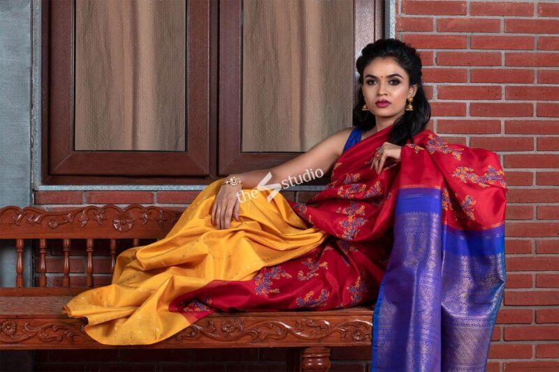 Three colour kanchi silk saree with block prints