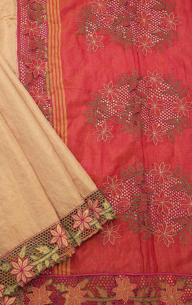 Golden beige tissue silk saree with cutwork